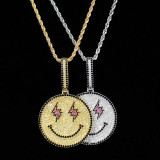 Hip Hop Smiley Lightning Pendant Necklace