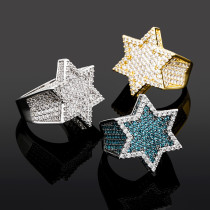 Trendy brand personality hexagonal men's ring
