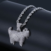 Goat zircon pendant necklace