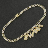 Zircon letter personalized necklace