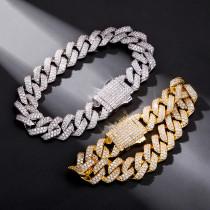 Rhombus zircon hip hop hipster bracelet