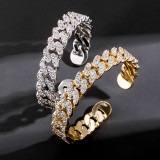 Real gold electroplated zircon hip-hop hipster bracelet