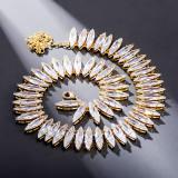 Oval zircon ladies hip hop necklace