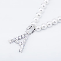 Pearl letter pendant necklace
