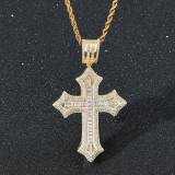 Flower Cross Hip Hop Pendant Necklace