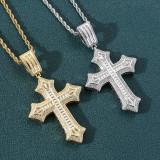 Flower Cross Hip Hop Pendant Necklace