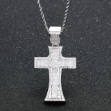 Zircon cross vintage religious necklace