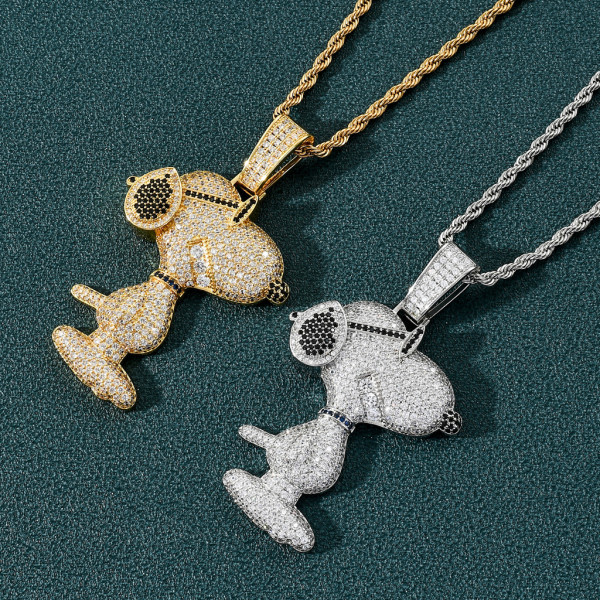 European and American Snoopy pendant, zircon hip-hop fashion accessory