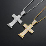 Zircon cross vintage religious necklace