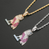 Owl pendant hip hop necklace