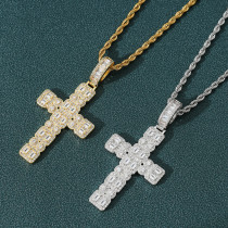 European and American zircon cross pendant necklace