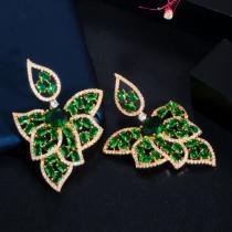 Zircon leaf earrings, fashionable all-match silver needle earrings