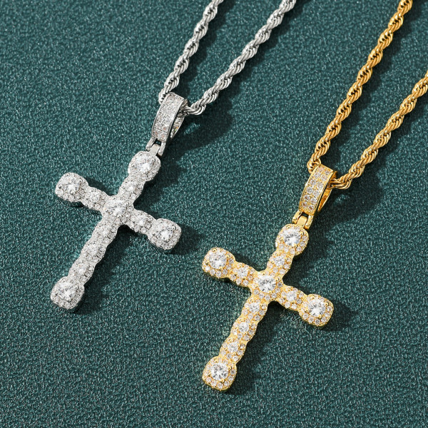 Zircon Cross Hip Hop Pendant Necklace