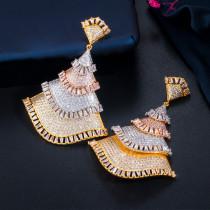Three-color zircon silver needle fan earrings