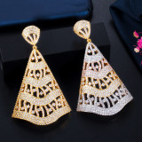 Electroplated 18K gold and silver pin earrings