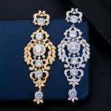 Zircon Hollow Silver Needle Bridal Earrings