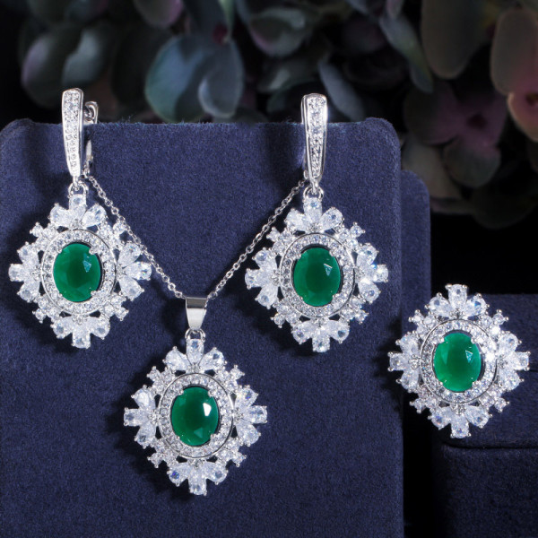 Crystal jewelry set, zircon necklace and earrings