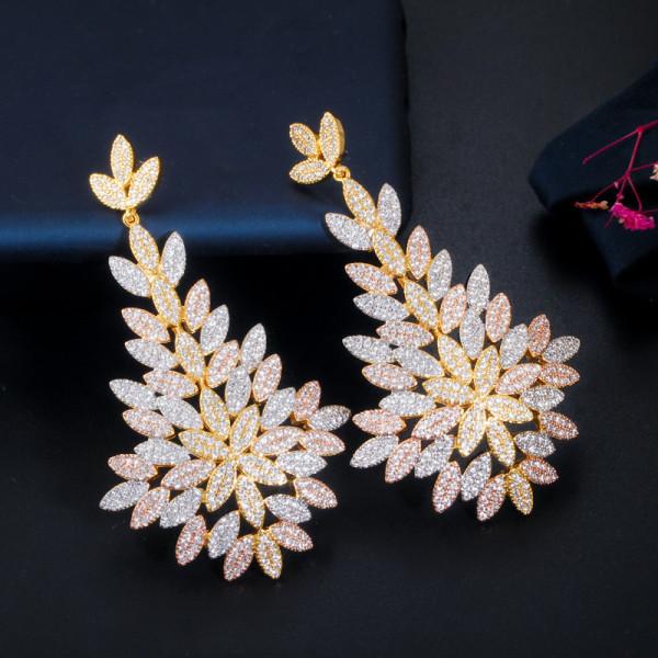 Fashion Zircon Silver Needle Earrings
