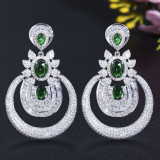 Zircon plating 18K gold and silver pin earrings