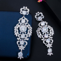 Zircon Hollow Silver Needle Bridal Earrings