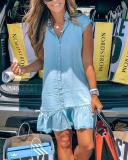 Cheap Button Ruffle Hem Denim Dress(Buy 2 Get Freeshipping)