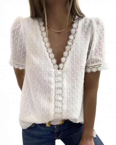 🔥HOT SALE🔥Melesy V Neck Lace Blouse