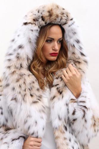 Leopard Long Hood Fur Coat