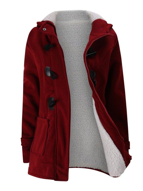 Women Horn Button Cotton Fleece Hooded Duffle Coat