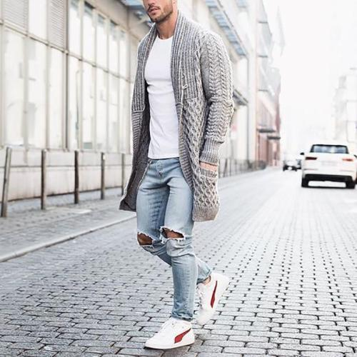 Casual Men's Pure Color Long Sleeved Knitted Sweater