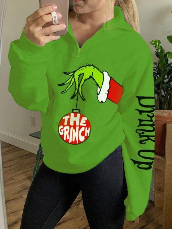 Ladies The Grinch Drink Up Printed Zip Top