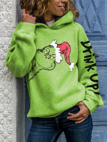 Women's Drink Up Grinch Printed Long Sleeve Hoodie