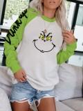 Women's Drink Up Grinch Print Round Neck Long Sleeve Sweatshirt