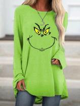 Women's Grinch Face Print Crew Neck Casual Top