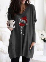 Cozy Christmas Red Wine Glass Print Pocket Top