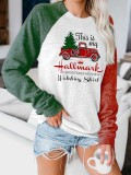 Women's This Is My Hallmark Christmas Movie Watching Shirt Print Contrasting Color Sleeve Top