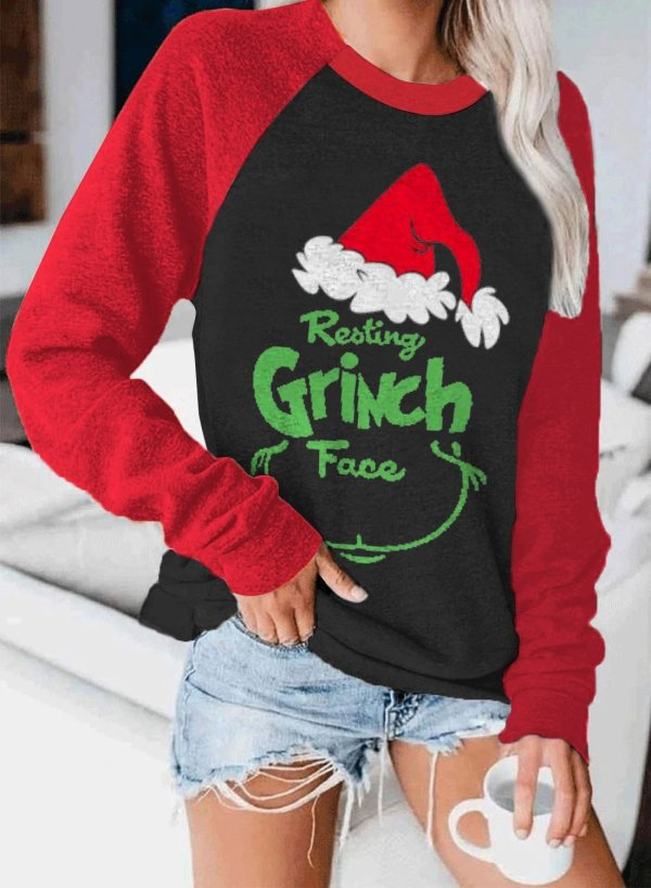 Women's Resting Grinch Face Printed Christmas Sweatshirt