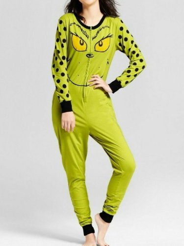 Women's Christmas Grinch Spotted Jumpsuit