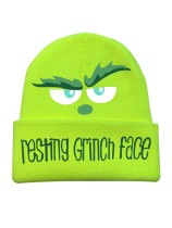 Woman's Resting Grinch Face Printed Hat