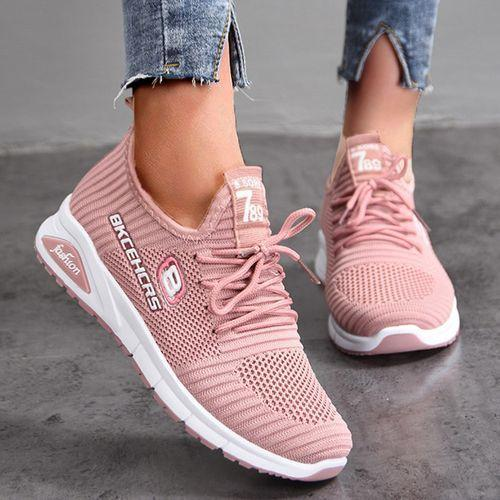Women's lace up open toe fabric wedge heel ultra light sneaker