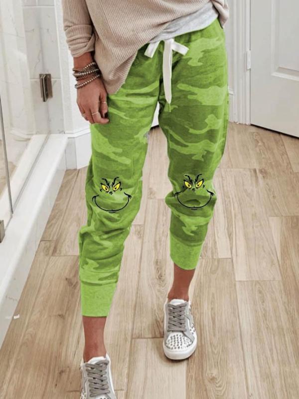 Women's Grinch Print Trousers