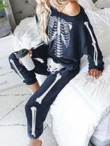 Women's Halloween Skull Pajamas Home Wear Set