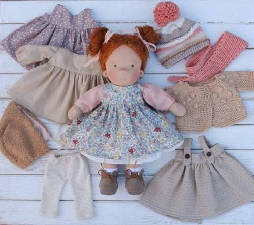 Waldorf doll 14inch/37cm with big set of clothes Natural fiber doll Waldorfdoll First doll