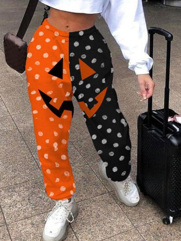 Women's Halloween series smiley face print contrast casual pants