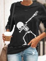 Women's Halloween Skull Print Sweatshirt