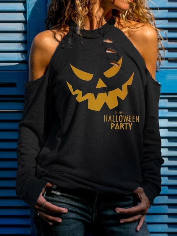 Women's Halloween Fun Print Off Shoulder T-shirt
