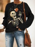 Casual crew neck Halloween skull print sweatshirt