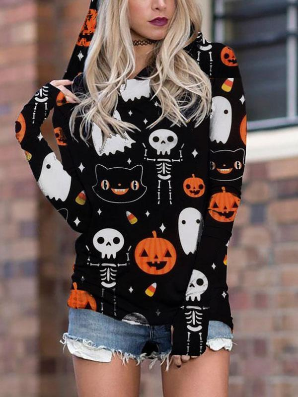 Halloween Ghost Pumpkin Print Hooded T-Shirt