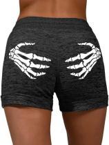 Women's Halloween Skeleton Hands Casual Shorts