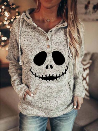 Ladies casual Halloween devil print sweatshirt