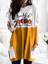 Women's Halloween Thanksgiving Thanksful Grateful And Blessed Print Contrast Stitching T-shirt